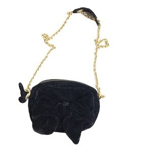 JUICY Velvet Black Bow Detail Chain Crossbody